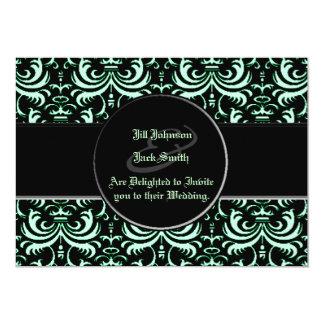 Big Bold Damask (Apple Green) (Wedding) Card