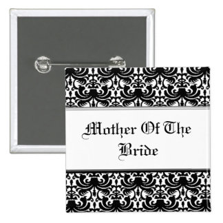 Big Bold Damask (Black) (Wedding) Pinback Button