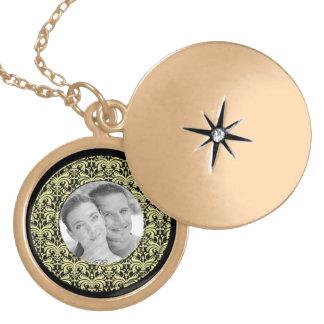 Big Bold Damask (Golden) (Monogram) Locket Necklace