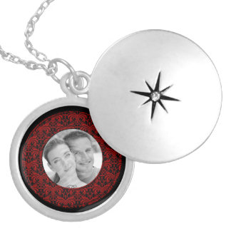 Big Bold Damask Photo Frame (Red) Silver Plated Necklace