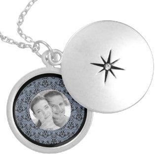 Big Bold Damask Photo Frame (Smokey Blue) Locket Necklace