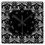 Big Bold Damask (White) Clocks