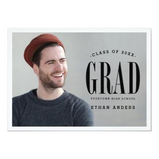 Big Bold Grad   White Text Photo Graduation Party 5x7 Paper Invitation Card