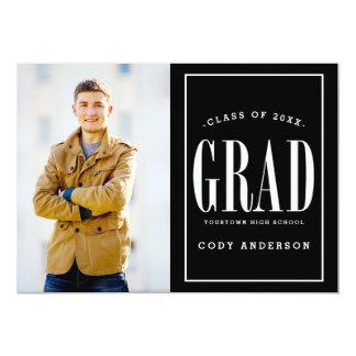 Big Bold Grad | White Text Photo Graduation Party 5x7 Paper Invitation Card