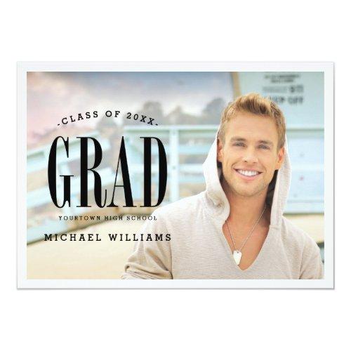 "Big Bold Grad | White Text Photo Graduation Party 5"" X 7"" Invitation Card"