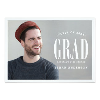 Big Bold Grad | White Text Photo Graduation Party 5x7 Paper Invitation Card