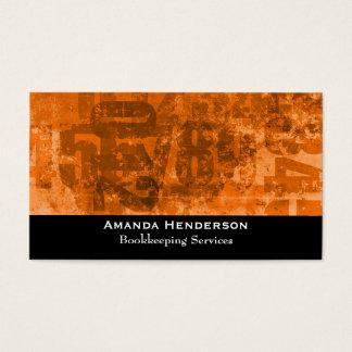 Big Bold Numbers on Brownish Orange Grunge Texture Business Card