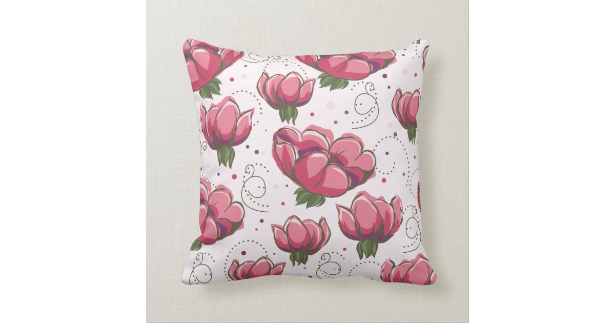 Throw Pillows With Large Flowers : Big Bold Pink Fuchsia Floral Throw Pillow Zazzle