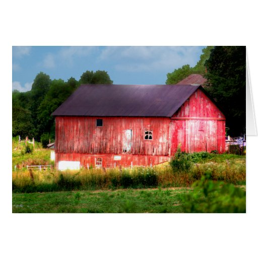 Big Bold Red Barn Greeting Cards