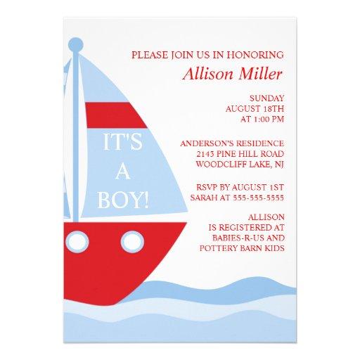 BIg & Bold SAILBOAT Boy Baby Shower INVITATION