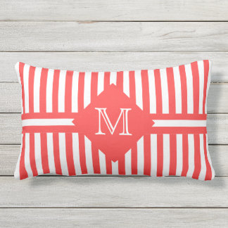Big Bold Salmon and White Stripes with Monogram Outdoor Pillow