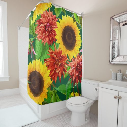 Big Bold Sunflowers and Chrysanthemums Shower Curtain.A custom shower curtain is a simple and elegant way to upgrade your powder room. You can easily create a unique room that matches your personal style with a shower curtain showing off your favorite quotes, images, or patterns. Singing in the shower just got a lot more inspirational.
