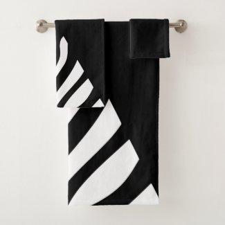 Big Bold Zebra Stripe Graphic Black and White Bath Towel Set