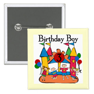 Big Bounce Boy 3rd Birthday T shirts and Gifts Button