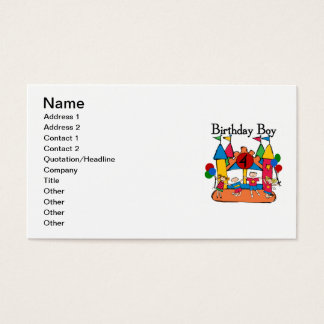 Big Bounce Boy 4th Birthday Tshirts and Gifts Business Card