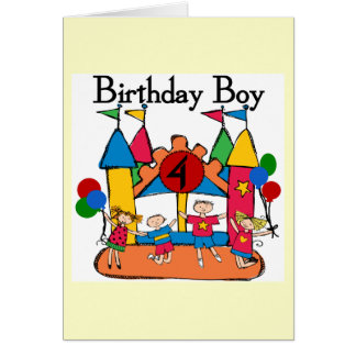 Big Bounce Boy 4th Birthday Tshirts and Gifts Greeting Card