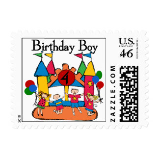 Big Bounce Boy 4th Birthday Tshirts and Gifts Stamps