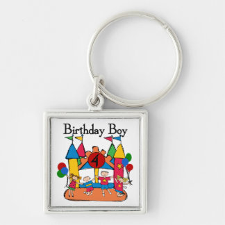 Big Bounce Boy 4th Birthday Tshirts and Gifts Silver-Colored Square Keychain