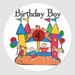 Big Bounce Boy 4th Birthday Tshirts and Gifts Round Stickers
