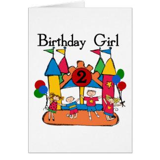 Big Bounce Girl 2nd Birthday Tshirts and Gifts Greeting Card