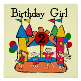 Big Bounce Girl 2nd Birthday Tshirts and Gifts Poster