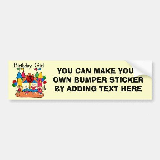 Big Bounce Girl 3rd Birthday Tshirts and Gifts Bumper Sticker