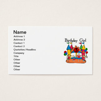 Big Bounce Girl 3rd Birthday Tshirts and Gifts Business Card