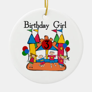 Big Bounce Girl 3rd Birthday Tshirts and Gifts Double-Sided Ceramic Round Christmas Ornament