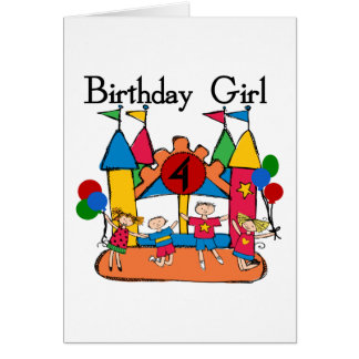 Big Bounce Girl 4th Birthday T-shirts and Gifts Cards