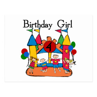 Big Bounce Girl 4th Birthday T-shirts and Gifts Postcard