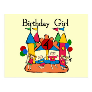 Big Bounce Girl 4th Birthday T-shirts and Gifts Postcard