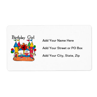 Big Bounce Girl 4th Birthday T-shirts and Gifts Shipping Label
