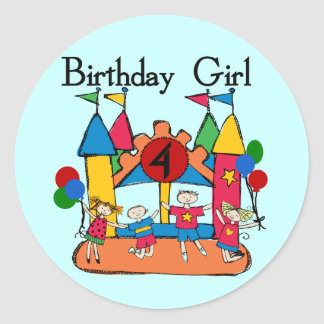 Big Bounce Girl 4th Birthday T-shirts and Gifts Classic Round Sticker