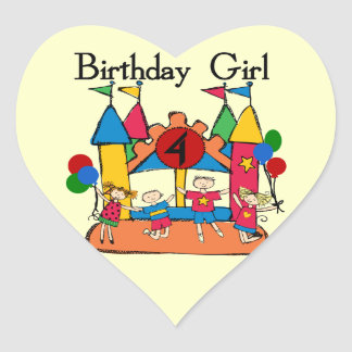 Big Bounce Girl 4th Birthday T-shirts and Gifts Heart Sticker