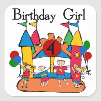 Big Bounce Girl 4th Birthday T-shirts and Gifts Square Sticker