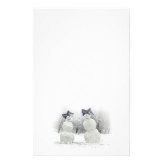 Big Bow Hat Snowmen Christmas Holiday Writing Stationery