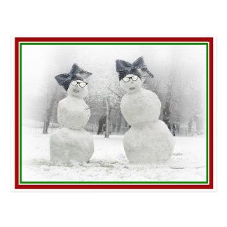 Big Bow Hat Snowmen Postcard