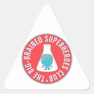 Big-Brained Superheroes Club Button Triangle Sticker