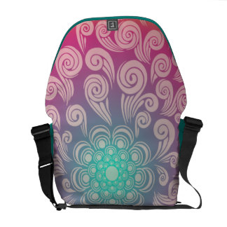 Big, Bright, Colorful Swirly and Curly Design Messenger Bag