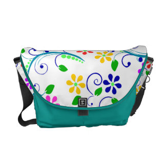 Big, Bright, Colorful Swirly and Floral Design Messenger Bags
