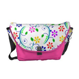 Big, Bright, Colorful Swirly Design - Pink Trim Messenger Bags