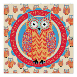 Big Bright Night Owl Poster - Children's Room