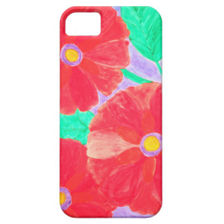 Big, bright red flowers watercolor iPhone SE/5/5s case