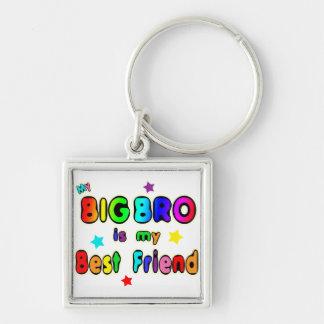 Big Bro Best Friend Silver-Colored Square Keychain