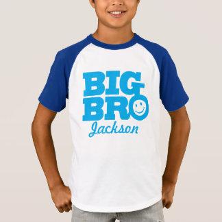 Big bro name blue smile kids t-shirt