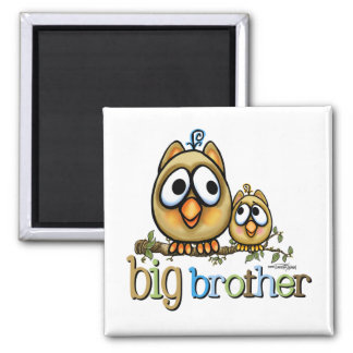 Big Brother - Baby Bro Owls 2 Inch Square Magnet