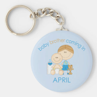 Big Brother Baby Brother Due in April Keychain