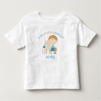 Big Brother Baby Brother Due in April Toddler T-shirt