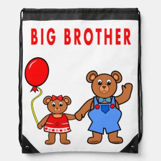 Big Brother Bear Holding Little Sister Bear's Hand Drawstring Bag