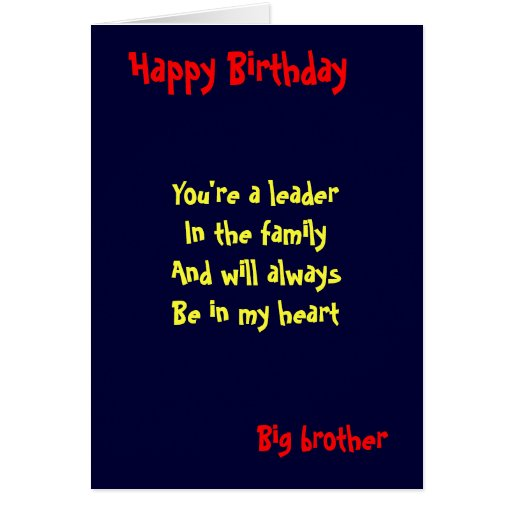 Birthday Cards Brother From Sister ~ Big brother birthday card zazzle